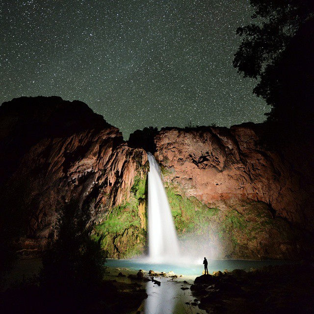 Havasu Falls painted in light. #GetOutStayOut  Photo: @travisburkephotography