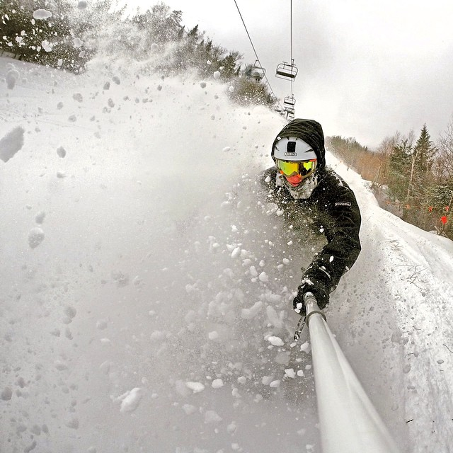 @bpomal8 scored a late season pow day at @whiteface_mt in New York. #gopro #gopole #gopolereach #snowboarding