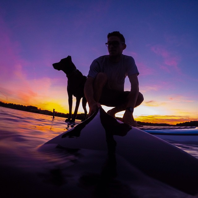 Photo of the Day! @trev4president and his dog Kahlua out for a sunset paddleboard session. #GoPro #SUP #sunset It's GoPro Animal Month! Be sure and submit your best content to us! Click the link in our profile to submit.