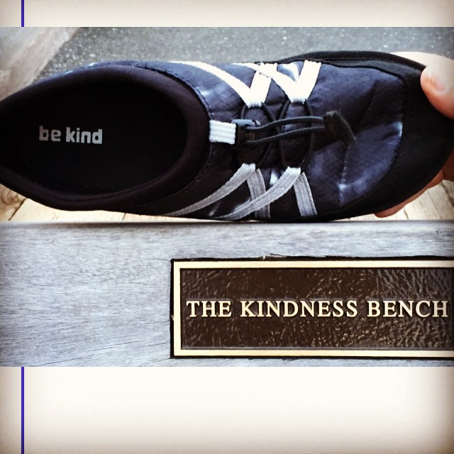 "Pakems in Bellingham Washington on the The Kindness Bench. ""Be Kind"" is in every pair of Pakems as part of our Step Into Your Intentions campaign. Let's stomp out bullying and online bullying!! #bekind #stopbullying"