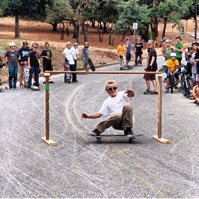 Epic throwback to many moons ago when the men were men and the sheep were scared! @liam_lbdr throwing limbo-induced sit-downs at the first Northern California event -- Menlo Park Skate Jam #calibertrucks