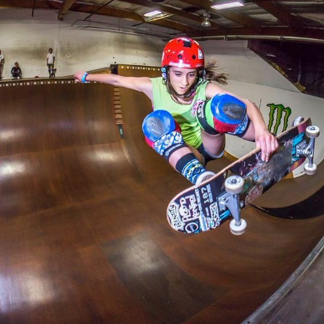 @flying_arianna Killing it at our last Ride and Dine at the DC ramp. Join us April 23 for our next event at Alga Norte Skatepark in Carlsbad and dine at Veggie Grill!