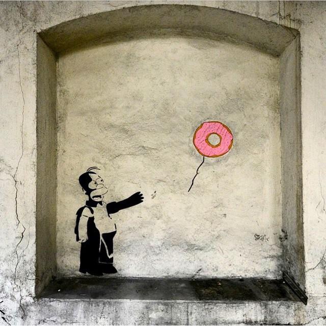 New work in Saint Etienne, France from Oak Oak #homer #thesimpsons #doh #streetart