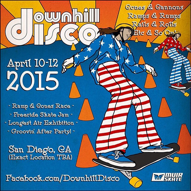 Super stoked for the Downhill Disco this weekend!  Does anyone recognize the skater in the flyer? Free stickers for who ever guess's correct first.  #downhilldisco #muirskate #bonzing @muirskate