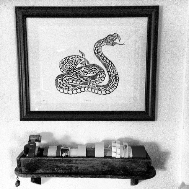 Stoked to finally get this @rest_up artwork up in the office. #steezmagazine #steezhq #peabodyma #snake #woodblock #print