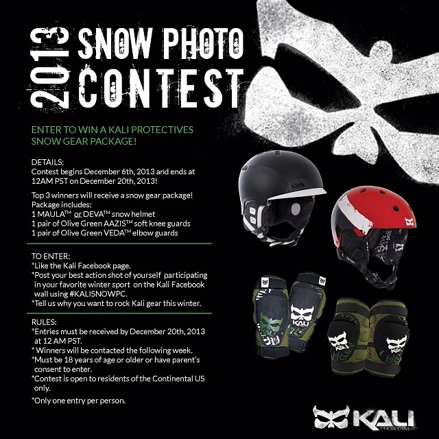 Facebook friends: Enter our 2013 Snow Photo Contest for a chance to win a Kali Protectives snow helmet and protective gear! #kaliprotectives #kalipro #kali #kalihelmets #protectivegear #helmets #snowboarding #skiing #snow #slopes #winter #mountain...