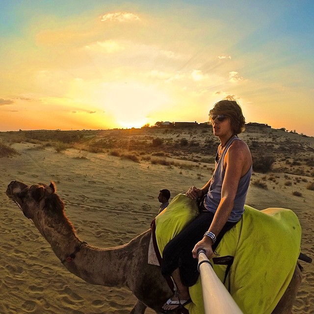 Hump Day! @emilecrosby trekking across the Rajasthani Desert at sunset. #gopro #gopole #gopolereach #humpday #india