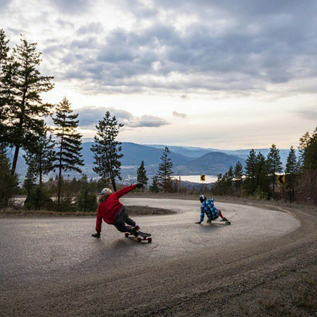 @dh_clbc and @niko_dh on a famous BC road.  Photo by @preservedlight  #restlessnkd #restlessboards