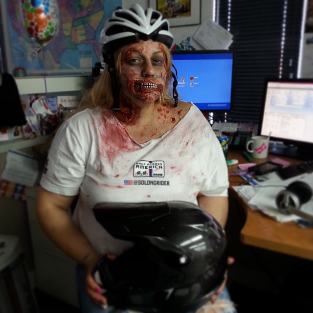 The Kali Zombie would like to wish you all a happy and safe Halloween!  If your going to be out riding tonight...remember to protect your brain! Trick-or-Treat! #halloween2013 #kali #kalipro #kaliprotectives #kalihelmets #protectivegear #zombie...