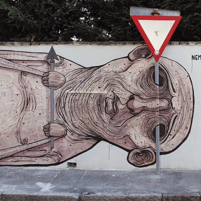Work by @whoisnemos in Placenza, Italy #arrow #mural #canvas #acrylic #streetart