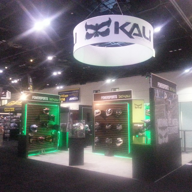 The Kali booth# 617 is all set up and ready to rock! Come see us this weekend at the AIMExpo in the Orange County Convention Center! #kali #kalipro #kaliprotectives  #kalibooth #kalihelmet #mx #moto #bike #street #protectivegear #green...