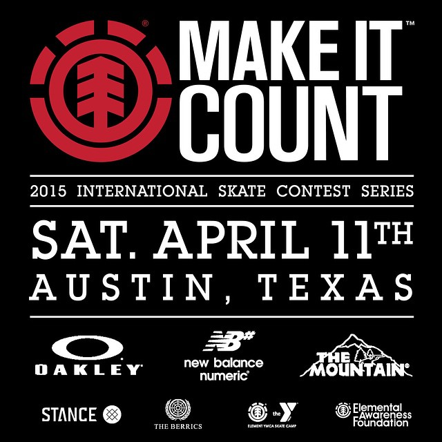 THIS SATURDAY >>> #Elementmakeitcount heads to Austin, Texas. Come compete for the experience of a lifetime, a trip to @elementskatecamp, The @berrics, @nyjah's park, and a shot at Element sponsorship >>> @elementmakeitcount