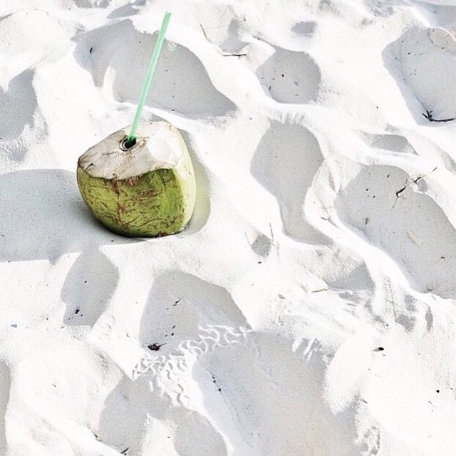 Serenity now with coconuts. Thank you @hopeandmay for taking us there...#getoutthere #cocoloco #coconutwater #whitesand #saltwaterdreams #thirstythursday