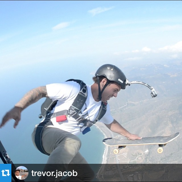 @trevor.jacob did 10 different sports in one day!  This was the part he skateboarded into and out of a helicopter, jumped out and went surfing!  Keep a look out for the video coming soon on the @gkcworldwide YouTube channel!  @bulthelmets #bulthelmets...