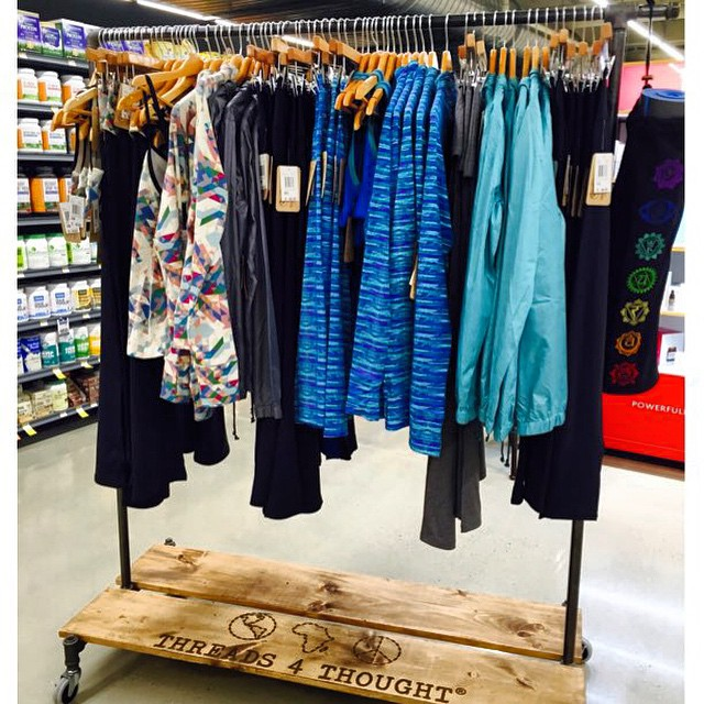 Our #sustainable #active collection looking fab thanks to the @wholefoodschi team + @monroetrades reclaimed wood display!