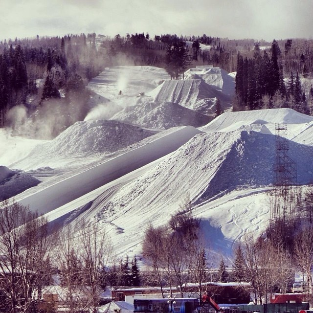 Hello Aspen! #xgames course construction underway. Thanks @aspensnowmass for the photo!
