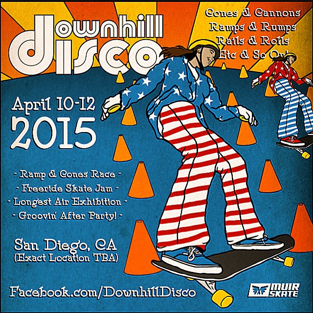 The @muirskate downhill disco is going down this weekend! It's gonna be a far out good time, can ya dig it? #downhilldisco