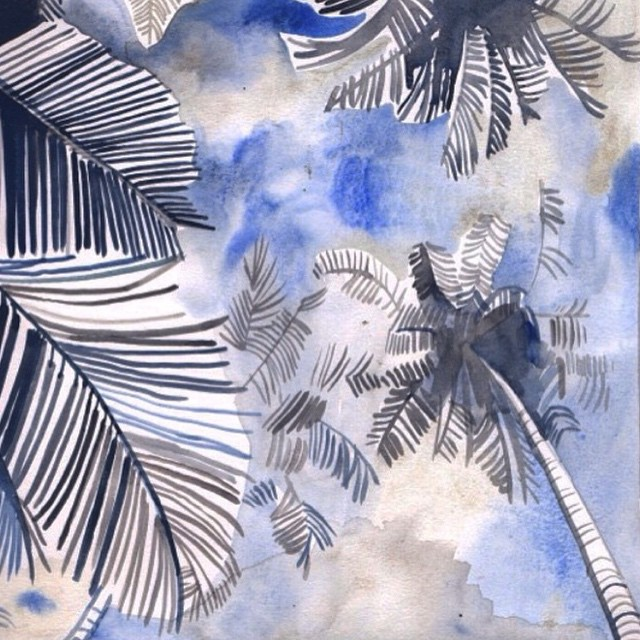 It's a pretty great day when an #allswellmuse dedicates a watercolor this rad to us. Palm trees, looking up by @nataliaresmini. Thank you #ladyslider! Makes us wanna lay on our backs and count clouds in the shade of a palm. That sounds like some time...