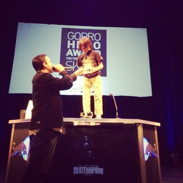 Asher won a #gopro award last night at the #transworldskateawards . #prettycool #congrats #thefuture #skateboarding #allterrain #terror !