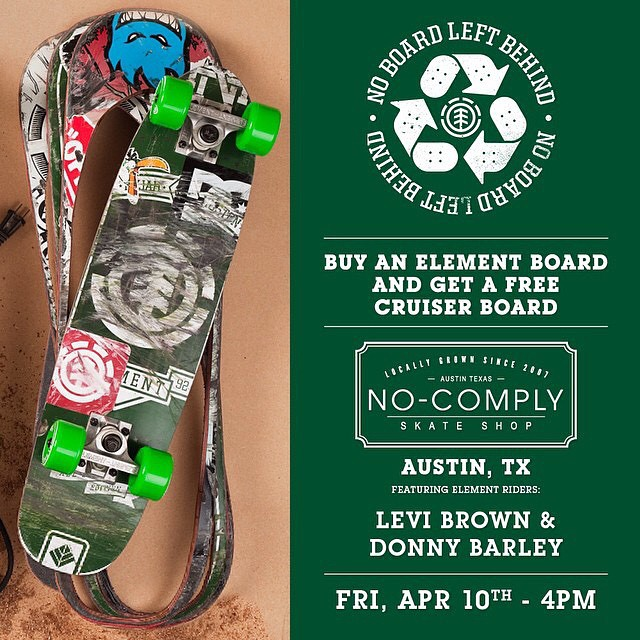 Tomorrow at @nocomplyatx we'll be holding a #NOBOARDLEFTBEHIND event! Come out and get your old boards cut into new cruisers by @donnybarley and @_levibrown! >>> 4pm