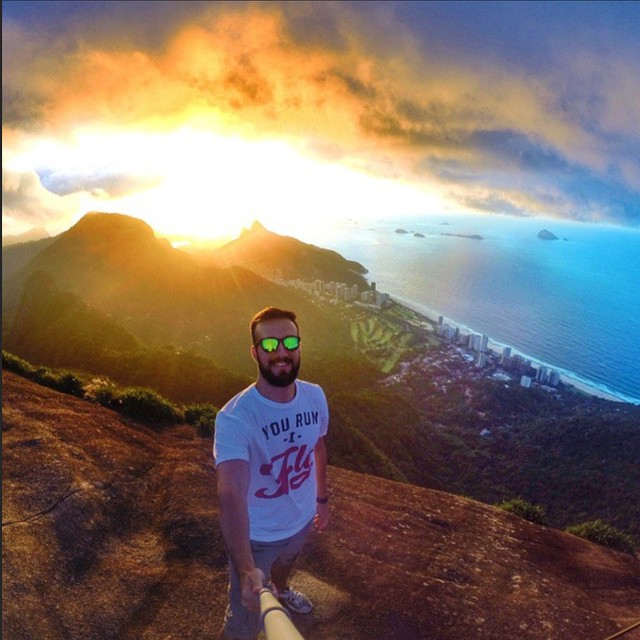 Life's A Beach • Bruno sports Bali while on his hike to the top!  Kameleonz.com
