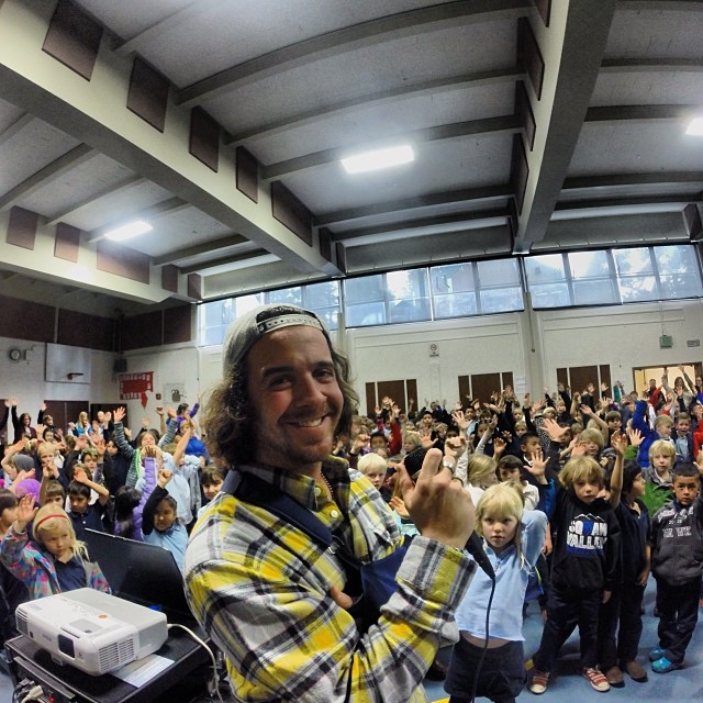 Great afternoon presenting #HelmetsAreCool at Kings Beach Elementary! Thanks @dannytoumarkine for being an inspirational #HighFivesAthlete | Shot with the @gopro #hero3plus on the #goproapp