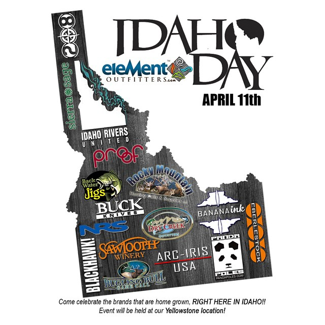 "Pocatello, join us at Element Outfitters (Yellowstone location), this Saturday, the 11th, for ""Idaho Day""! We will have our NEW Trekking Wands, Camera Wands, and Wander Wands on display, be doing a live screenprinting, and have tons of stickers and..."
