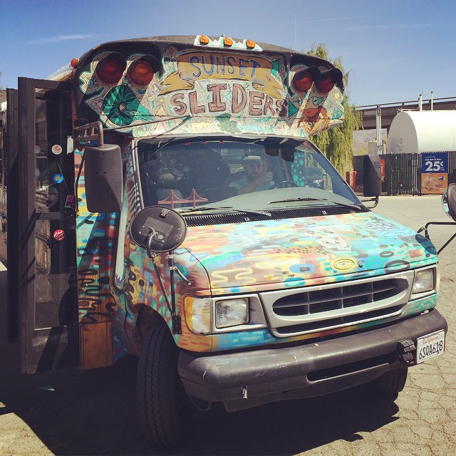 The #Discosliderbru has begun and @sunsetsliders bus is in full effect down to the @muirskate #downhilldisco2015!  Get on the bus!  #sunsetsliders #muirskate #bonzing