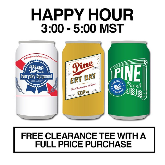 Happy Friday! For the next two hours all full price purchases will come with a free clearance tee. **The free tee will not show up in your cart but we will pick one and it will show up with your order. Give your size and requests in the order comments.