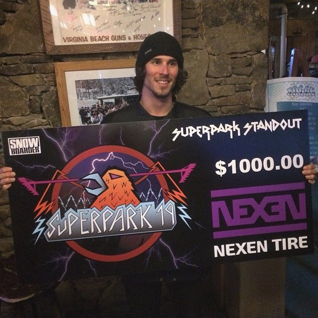 Congratulations one more time to @scottyvine for being awarded Standout Rider at @snowboardmag #superpark19 at @ride7springs presented by @nexentireusa #flux #fluxbindings #snowboard #snowboarding ❄️