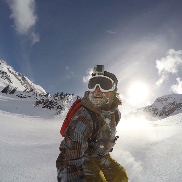 @MikeBasich coming up for fresh air at GoPro Snow Athlete Camp. #GoPro #CMHHeli