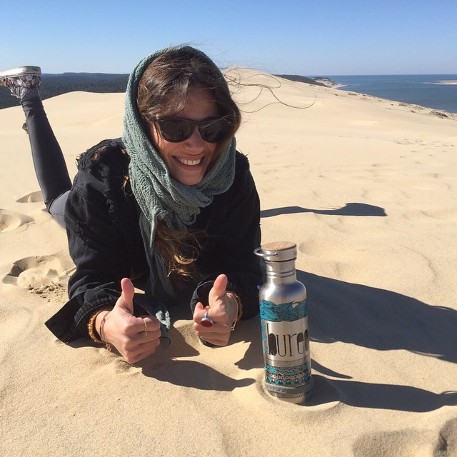 Drinking plastic free from the top of the sand at Dune of Pilat in France! Photo @BeaNeedsInsta