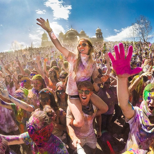 Photo of the Day! @jqute12 enjoying the Holi Festival of Colors in Spanish Fork, Utah. Photo by @dane_antone. #gopro