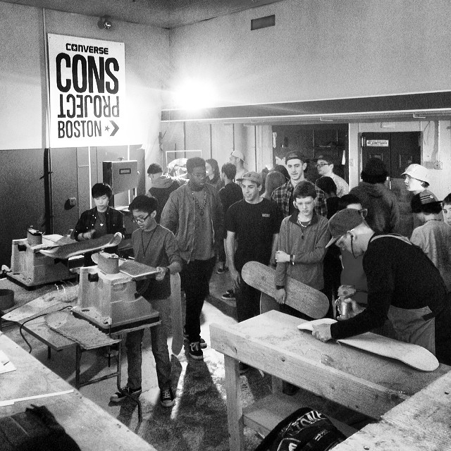 The CONS project is goin down now at @themarketskatepark in good ole Beverly, ma. Build your own board. @converse_cons #consproject #diy #skateboarding #steezmagazine #beverlyma #bevmarket