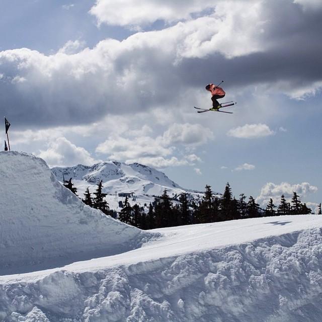 XS team rider @anna_segal taking flight @whistlerparks. Incredible shot by @ilannaemily #xshelmets #xsteam #whistler #ski #girlswhoshred #killinitsoftly #skatebikeboardski @whistlerblackcomb @mahfia_tv