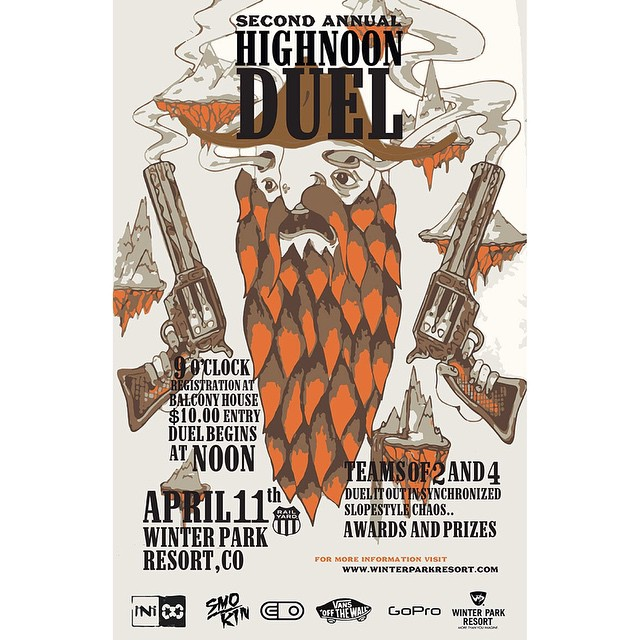 Cmon out and join us this afternoon, for the 2nd Annual #HighNoonDuel @winterparkresort in CO. Gonna be a fun and sunny afternoon . @smokinsnowboards @gopro #ColoradoLivin #Coloradogram