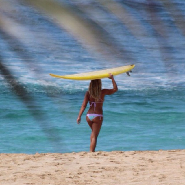 Big Wave charger Jamilah Starr as gorgeous as ever representing Local Honey on North Shore Oahu