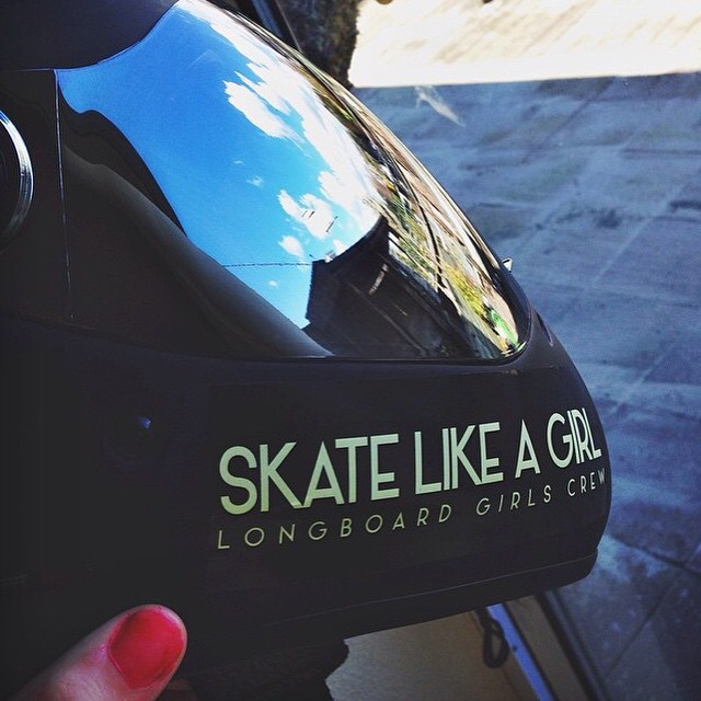 We think LGC Netherlands rider @rosanne_onboard's helmet look pretty sweet with our sticker. You can get some of these in longboardgirlscrew.com/shop  #skatelikeagirl #longboardgirlscrew #girlswhoshred #womensupportingwomen #stickers #skate