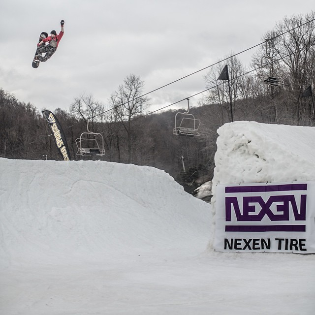 @shaunmurphy413 was sending it hard at #Superpark19 with the rest of the #FluxBindings crew. Here's a shot of him sending a frontside 720 tuck knee over the step over jump.
