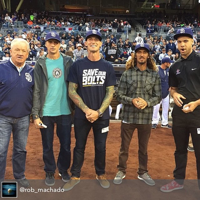 ICYMI: check out this lineup on the @padres field this weekend! Randy Jones, @tonyhawk, @hardwina, @rob_machado, and JJ O'brien throwing out the first pitch.