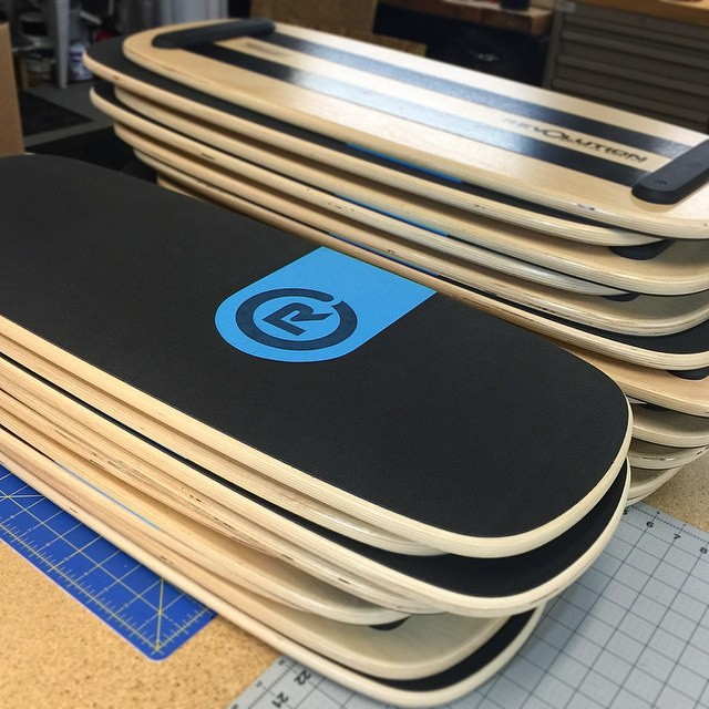 #freshstack of #revbalance 101 boards ready to be boxed up and shipped out!  #findyourbalance #boarding #boardsports #balance #balanceboard #skateboarding #skate #longboarding #surfing #wakeskating #windsurfing #kiteboarding #sup #paddle #train...