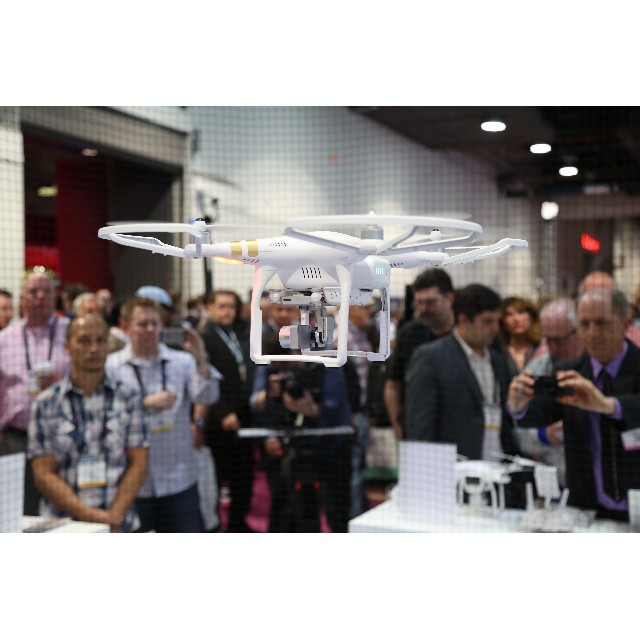 This is how we say hi!  The #DJI #Phantom3 Professional greeting the crowd at #NABShow2015 with its #4k camera.  Don't forget to come visit us at LVCC, C1707, Apr 13-16.  #aerial #dronesaregood #NABShow #NAB