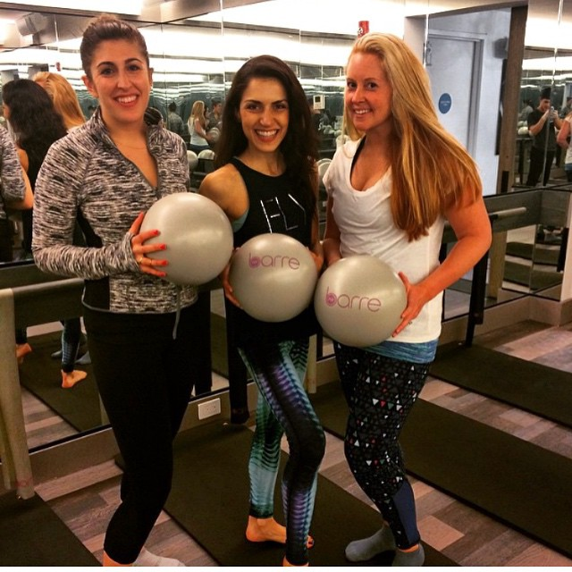 It's a @flybarre sandwich! T4T lovelies @fullblownsloan and @rcjermakian rocking a #barre class with @hanroseb!