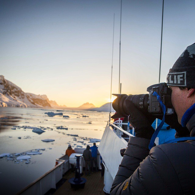 GZ Ambassador @mikelibecki catching the sunset in Antarctica. #GetOutStayOut  Photo: @schirfphoto