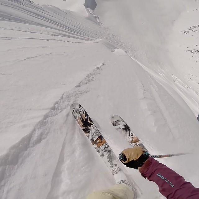 Flylow's @aengerbretson dropping into the AK steeps. @valdezheliskiguides @k2_skis