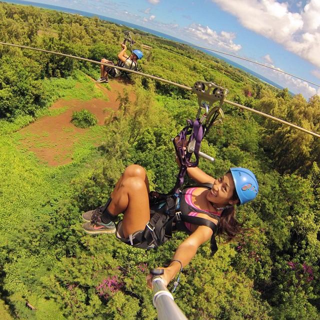 @taylorya and Dane zip lining over Hawaii. GoPro HERO4 | GoPole Reach #gopro #hero4 #gopole #gopolereach #zipline #hawaii