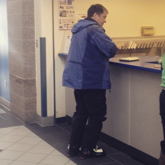Why wouldn't you mail your taxes  in ski boots? This guy has his priorities straight! #yes