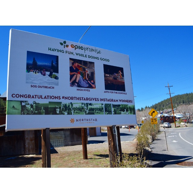 This deserves a dance party!! Thank you @skinorthstar for helping us share our story on the Truckee Downtown billboard next to @artsfortheschools & #sosoutreach. #epicpromise #northstargives