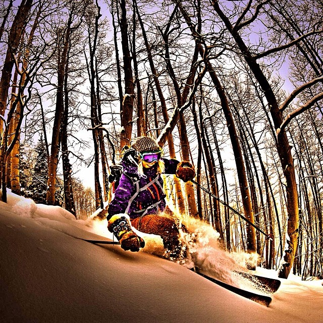 Ripping through the trees at #Aspen @aspensnowmass