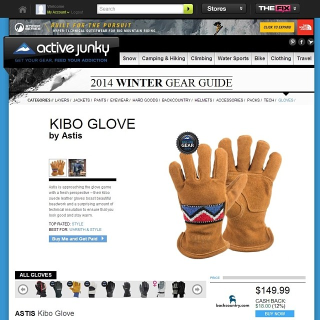 Thank you @activejunky for awarding the Astis Kibo Glove as  the 2014 Bad-Ass Gear winner!!!